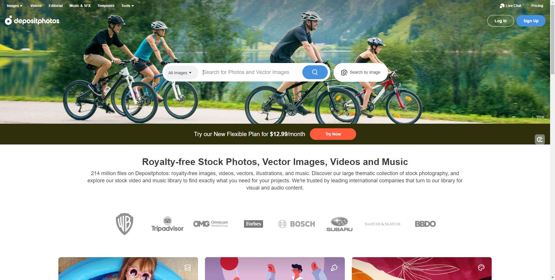 Depositphotos homepage
